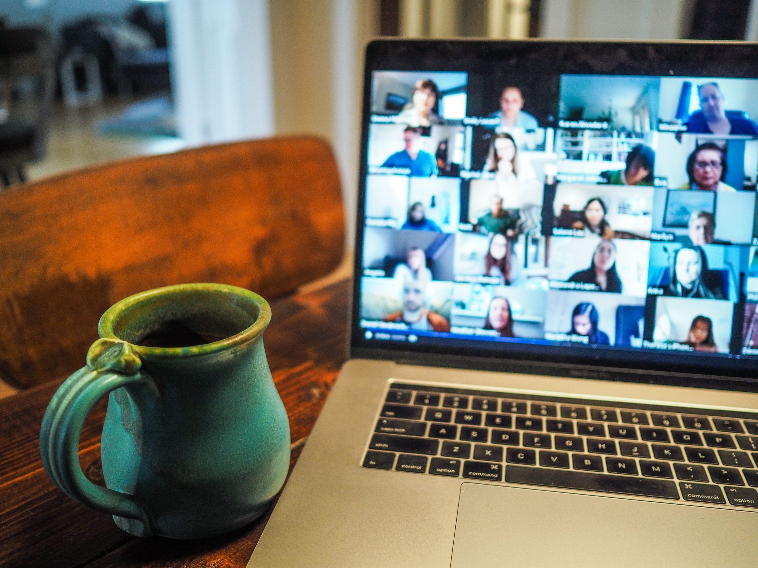 Laptop and mug